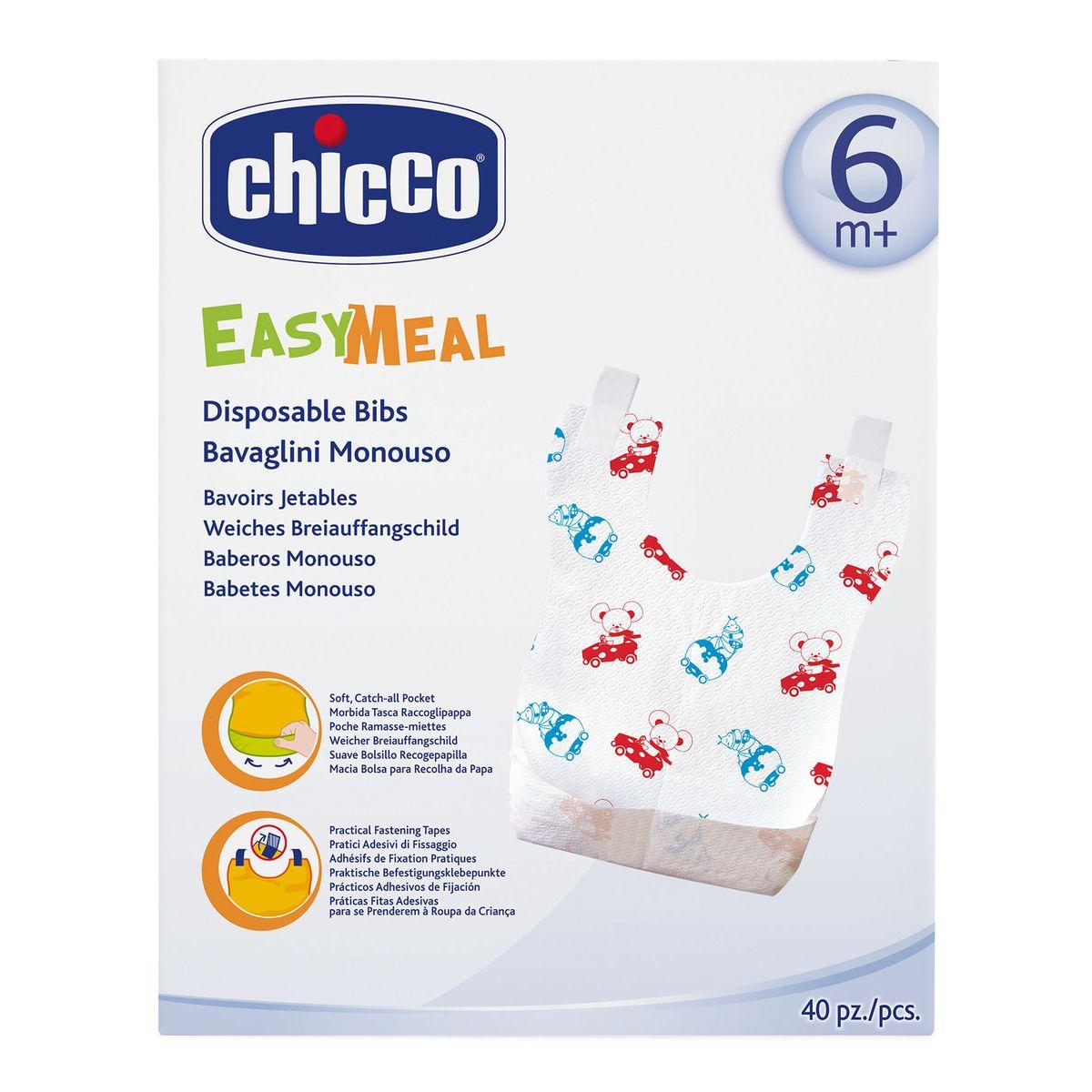 Chicco Нагрудник одноразовый с карманом и липучками 40 шт67440010000Сделаны из бумаги
