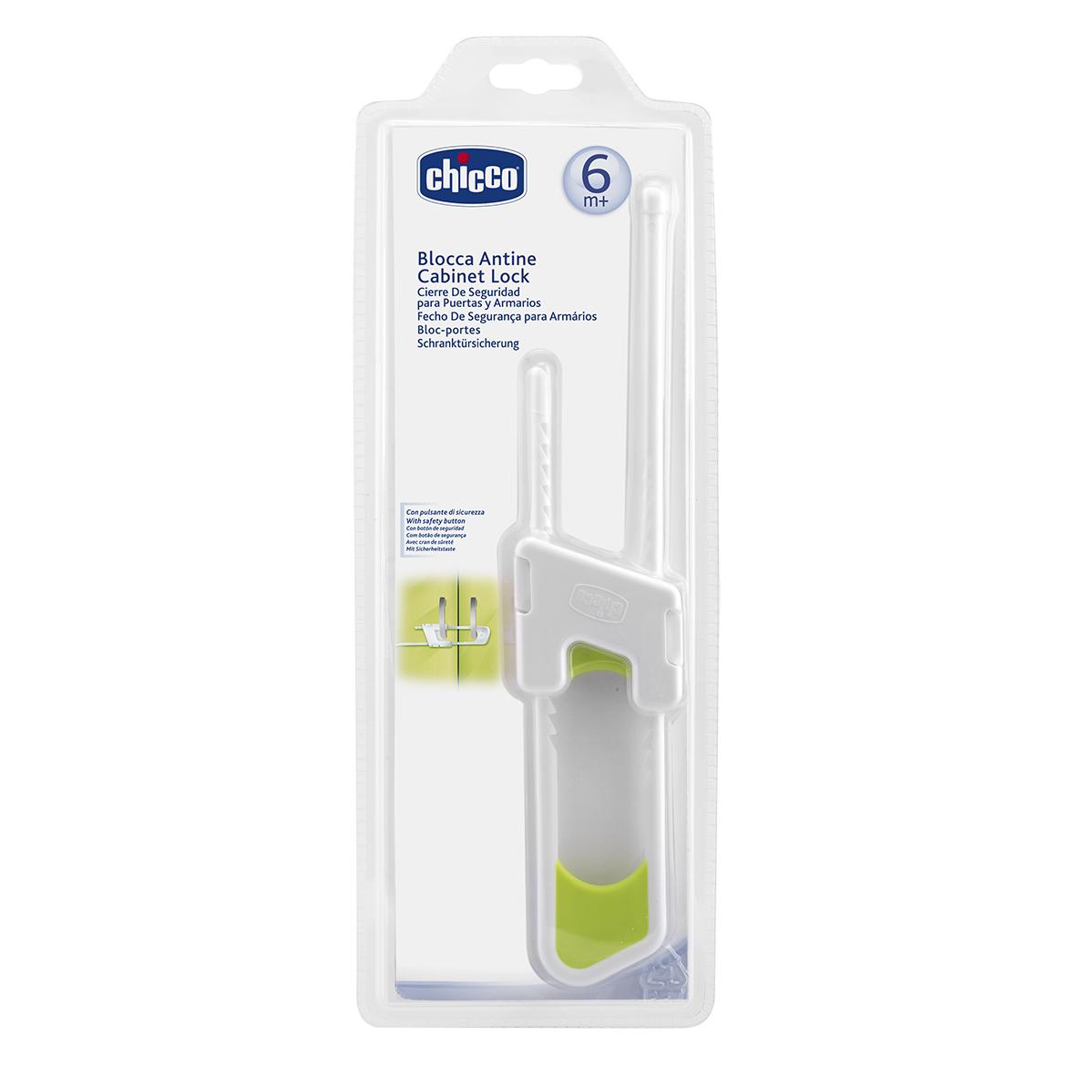 Chicco Блокиратор дверей шкафа589000000Блокиратор не позволит малышу открыть дверцы шкафа, тем самым, защитив его от повреждений. Блокиратор прост в использовании: он устанавливается на ручки дверей и блокирует их.