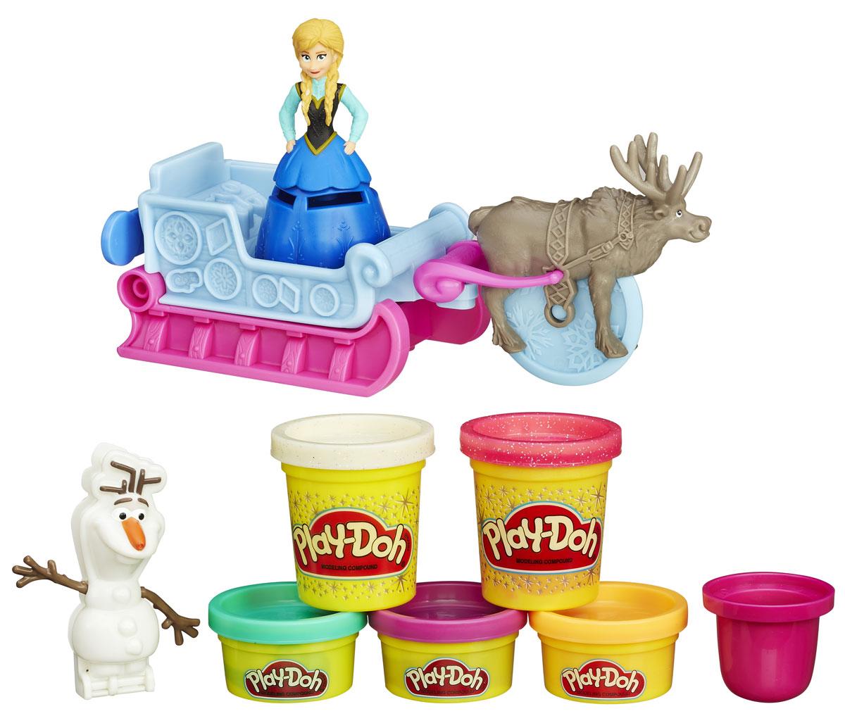 Play-Doh Игровой набор Холодное СердцеB1860EU4Набор Play-Doh Холодное Сердце предназначен для лепки и моделирования. Пластилин Плэй До обладает отличными пластичными свойствами, быстро размягчается, хорошо держит форму и не липнет к рукам. Он прекрасно подходит для создания даже очень мелких деталей, в чем малышке поможет этот набор! В наборе фигурка принцессы Анны и снеговика Олафа. С помощью фигурки оленя можно резать раскатанный пластилин. Фигурку принцессы можно посадить в волшебные сани. С помощью саней можно получить пластилин разных форм, или делать замечательные резные слепки. Пластилин легко отмывается с рук и отстирывается от одежды. Занятия лепкой помогут вашей маленькой принцессе развить творческие способности, воображение, а также мелкую моторику рук. Яркие цвета и сказочные образы подарят ей положительные эмоции и хорошее настроение!