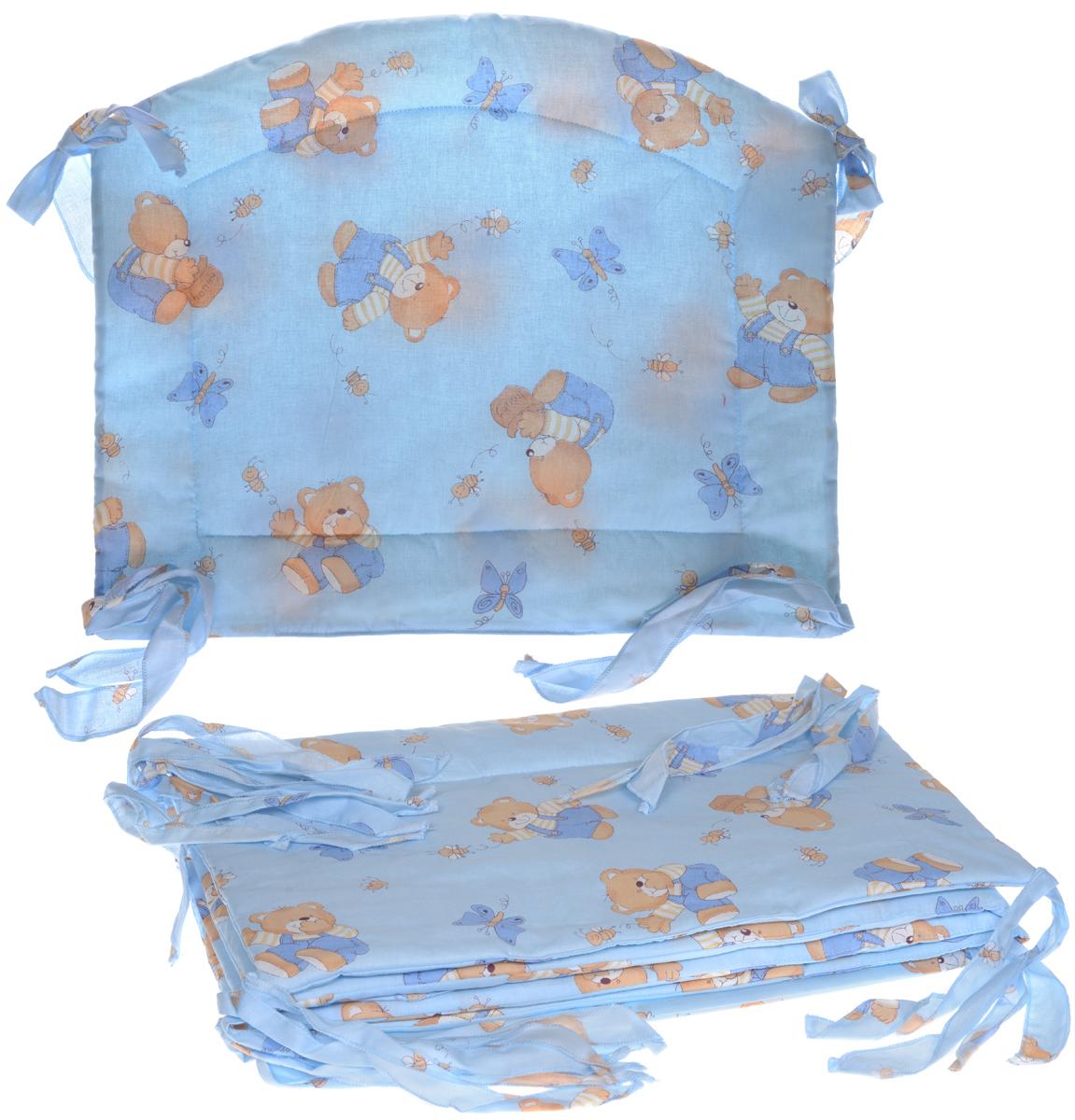 Фея Борт комбинированный 405 Мишка цвет голубой1045_голубойКомбинированный бортик в кроватку Фея выполнен из высококачественных материалов. Бортик защитит малыша от сквозняков, а когда ребенок подрастет и начнет вставать самостоятельно  от ударов при возможных падениях. Малыш с удовольствием будет разглядывать забавные рисунки, красочный бортик в кроватку выполняет эстетическую функцию, делая внешний вид кроватки еще прекраснее. Бортик обеспечит изолированность и уют внутри кроватки для малыша во время его отдыха. В комплект входят 2 борта размером 118 см х 39 см, и по одному борту размером 62 см х 38,5 см и 62 см х 48 см. Общая длина борта: 360 см.