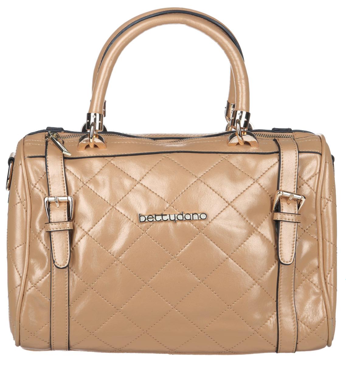 Сумка женская Bettydano, цвет: бежевый. L30021-W3L30021-W3Стильная сумка женская Bettydano выполнена из натуральной кожи, оформлена металлической фурнитурой с символикой бренда и декоративной строчкой. Изделие содержит одно отделение, которое закрывается на молнию. Внутри расположены: карман-средник на молнии, врезной карман на молнии и два накладных кармашка для мелочей. Снаружи, с тыльной стороны изделия, расположен врезной карман, застегивающийся на молнию. Сумка оснащена двумя практичными ручками для переноски и съемным плечевым ремнем регулируемой длины. Дно сумки оснащено металлическими ножками, которые помогут защитить изделие от преждевременных повреждений. Оригинальный аксессуар позволит вам завершить образ и быть неотразимой.