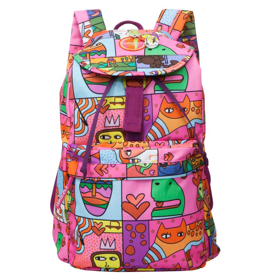 Рюкзак городской Grizzly, цвет: сиреневый, 22 л. RD-646-2/1RD-646-2/1Рюкзак молодежный, одно отделение, клапан на липучках, объемный карман на молнии на передней стенке, внутренний карман на молнии, мягкая спинка, дополнительная ручка-петля, укрепленные лямки, закрывается затягивающимся шнуром