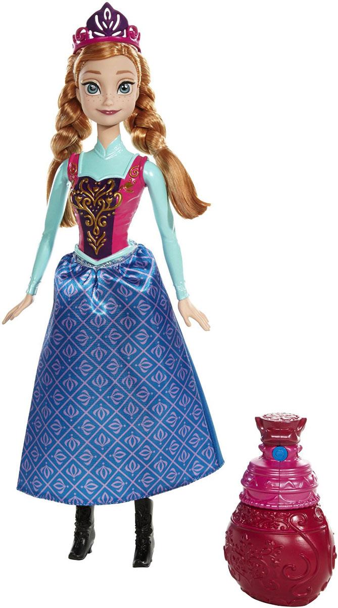 Disney Frozen Кукла Анна в королевском нарядеBDK31_BDK32Кукла Disney Frozen Холодное сердце. Анна поможет вашей малышке окунуться в сказочный мир. Игрушка выполнена в виде главной героини диснеевского мультфильма Холодное сердце. Куколка одета в длинную синюю юбку с сиреневым рисунком, а верх в виде платья выполнен из пластика. На ногах принцессы - черные сапожки на каблучках. Волосы Анны заплетены в две косички и украшены короной. В комплекте с куклой имеется розовый флакон. Если из него побрызгать на верхнюю часть платья, то наряд поменяет свой цвет! Ручки, ножки и голова куколки подвижны. Ваша малышка с удовольствием будет играть с этой куколкой, проигрывая сюжеты из любимого мультфильма или придумывая различные истории.
