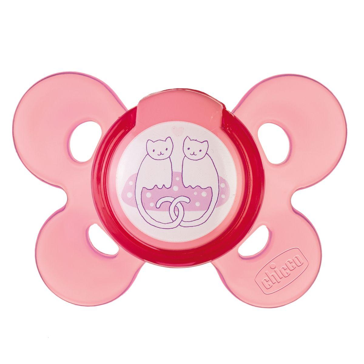 Chicco Пустышка силиконовая Котики от 6 до 12 месяцев310410127Воздух свободно циркулирует между кожей ребенка и пустышкой