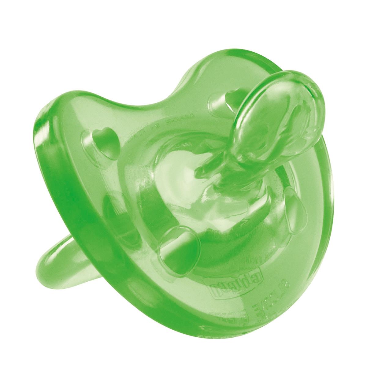 Chicco Пустышка Physio Soft силиконовая цвет зеленый от 1 года