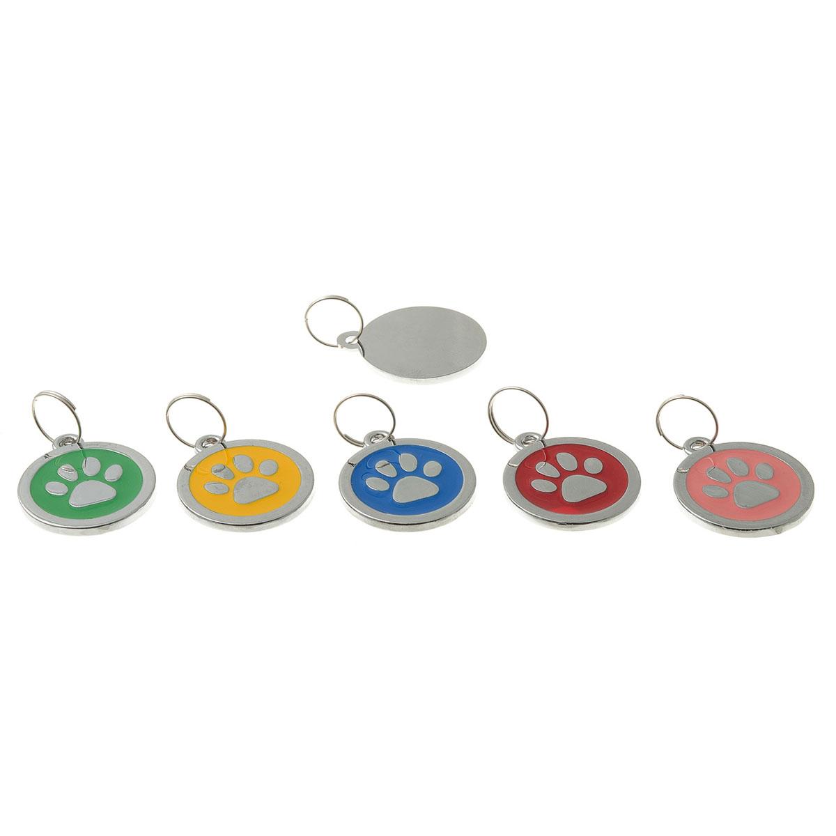 Адресник-лапка V.I.Pet, круглый, цвет: розовый, 25 мм. 1100111001Брелок на ошейник. Предназначено для животных в виде украшения, а также гравировки адреса и телефона владельца. Материал: нержавеющая сталь