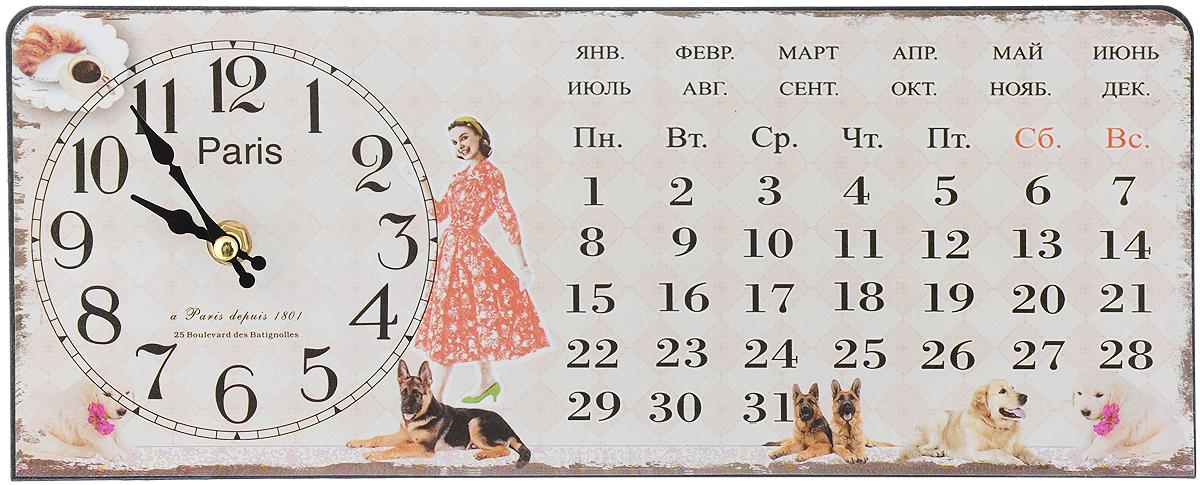 Часы настольные Феникс-Презент Девушка с собачками, 35 х 14 см40747Настольные часы прямоугольной формы Феникс-Презент Девушка с собачками своим эксклюзивным дизайном подчеркнут оригинальность интерьера вашего дома. Часы выполнены из металла. Они оформлены изображением календаря, девушки и собак. Часы имеют две стрелки - часовую и минутную. Настольные часы Феникс-Презент Девушка с собачками подходят для кухни, гостиной, прихожей или дачи, а также могут стать отличным подарком для друзей и близких. ВНИМАНИЕ!!! Часы работают от сменной батареи типа АА 1,5V (в комплект не входит).