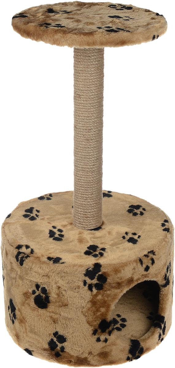 """Домик для кошек """"Пушок"""", круглый, с когтеточкой, цвет: коричневый, черный, 42 х 42 х 80 см 4640000931100_коричневый, черный"""