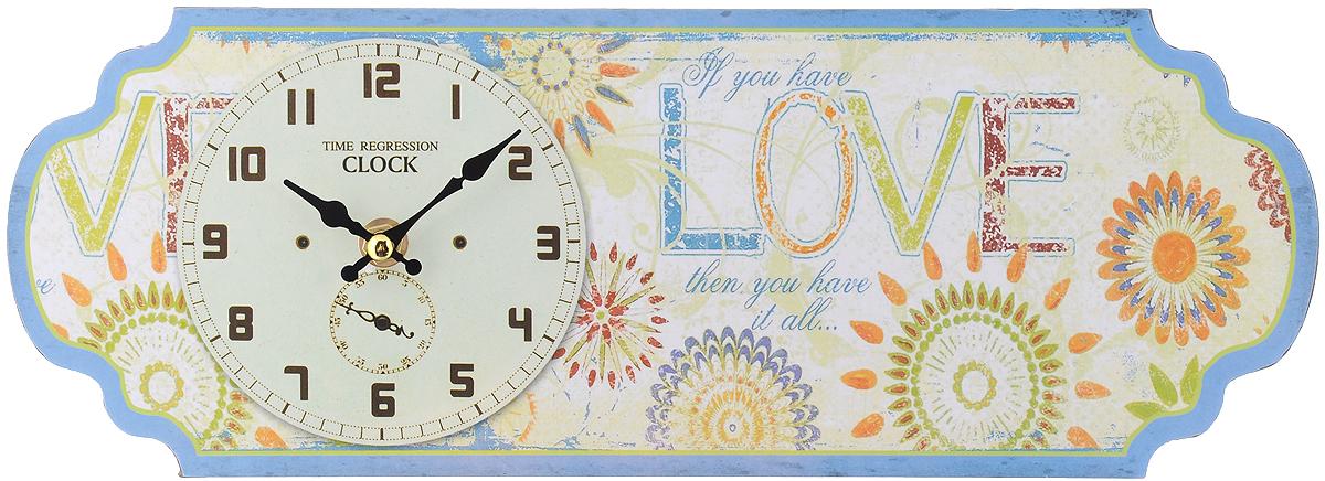 Часы настольные Феникс-Презент Бирюза, 36 х 13 см40719Настольные часы Феникс-Презент Бирюза своим эксклюзивным дизайном подчеркнут оригинальность интерьера вашего дома. Часы выполнены из МДФ в виде таблички с цветочным рисунком и надписями. МДФ (мелкодисперсные фракции) представляет собой плиту из запрессованной вакуумным способом деревянной пыли и является наиболее экологически чистым материалом среди себе подобных. Часы имеют две стрелки - часовую и минутную. Настенные часы Феникс-Презент Бирюза подходят для кухни, гостиной, прихожей или дачи, а также могут стать отличным подарком для друзей и близких. ВНИМАНИЕ!!! Часы работают от сменной батареи типа АА 1,5V (в комплект не входит).