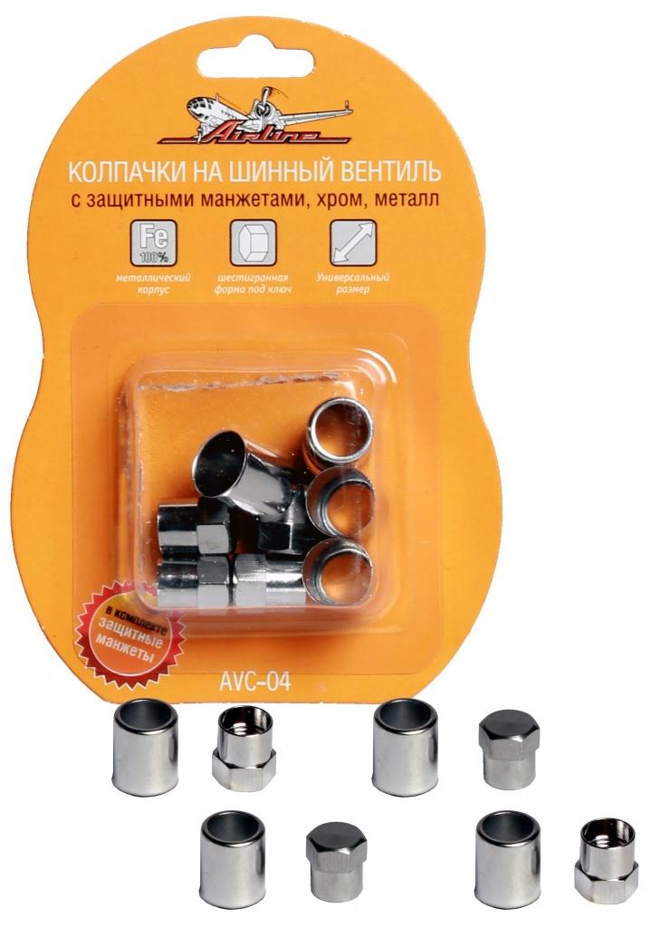 Колпачки на шинный вентиль Airline, с защитными манжетами, 4 штAVC-04Колпачки на шинный вентиль Airline защищают от попадания грязи и воды на воздушный клапан, а также от мелкого травления воздуха. Подходят для автомобилей, мотоциклов и велосипедов. Изготовлены из металла с хромированным покрытием, оснащены герметичными резиновыми прокладками и защитными манжетами. Имеют шестигранную форму под ключ.