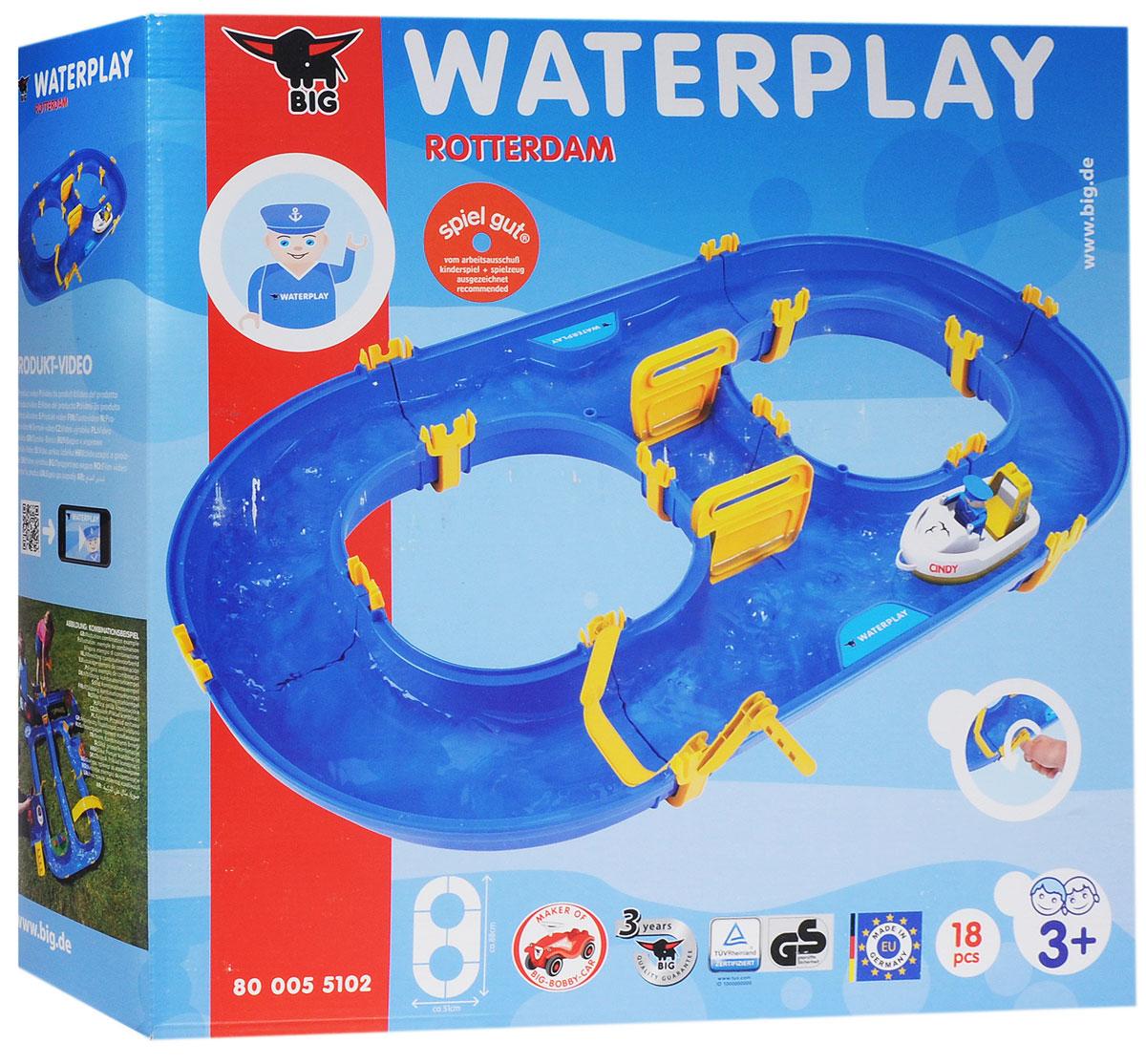 Big Водный трек Rotterdam Waterplay55102Водный трек Big Rotterdam Waterplay - отличный подарок вашему малышу. Это изделие включает в себя синий трек в виде восьмерки, лодку с фигуркой человечка, механический привод для создания потока воды и препятствия, позволяющие на свой вкус менять направление лодочки. Совмещаемые элементы набора крепятся по типу конструктора и не требуют клея и чрезмерных усилий. Такая игра возможна дома и на природе, возле моря или речки. Она развивает фантазию, логическое мышление, мелкую моторику и в целом позволяет получить неописуемое удовольствие от водной игры.