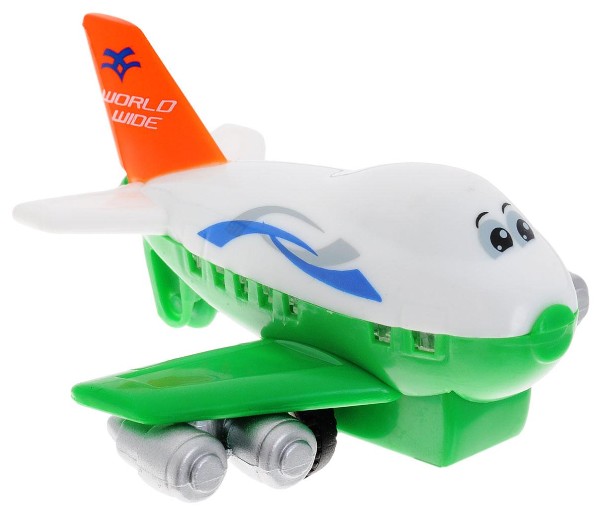 Dickie Toys Веселый самолет инерционный цвет белый зеленый3345475Забавный самолет Dickie Toys Funny Plane привлечет внимание вашего малыша и не позволит ему скучать! Выполненная из безопасного пластика, игрушка представляет собой самолетик с глазками. Округлые без острых углов формы гарантируют безопасность даже самым маленьким. Игрушка оснащена инерционным ходом. Самолетик необходимо отвести назад, затем отпустить - и она быстро поедет вперед. Самолет Dickie Toys Funny Plane поможет ребенку в развитии воображения, мелкой моторики рук, концентрации внимания и цветового восприятия.