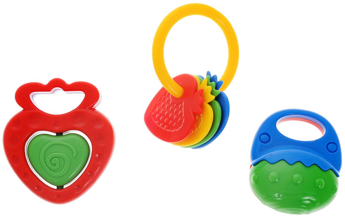 Simba Набор погремушек цвет красный зеленый 3 шт4011072_вид2Набор погремушек Simba включает в себя три погремушки разной формы, выполненные из яркого и безопасного пластика. Гремящие шарики внутри двух игрушек играют роль погремушки. Третья игрушка представляет собой кольцо с нанизанными на него элементами, в форме клубничек. Игра с погремушкой поможет малышу развить слуховое и цветовое восприятия, мелкую моторику рук и концентрацию внимания, а также стимулирует взаимодействие между органами осязания, слухом и зрением и учит различать формы.