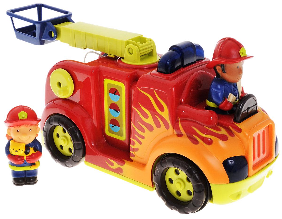 Battat Пожарная машина с пожарными68639Пожарная машина с пожарными Battat привлечет внимание вашего ребенка и не позволит ему скучать! Набор включает в себя пожарную машину со звуковыми и световыми эффектами и 2 фигурки пожарных. Фигурки съемные. Если нажать на фигурку водителя, то пожарная машина заведется и поедет. Фары и проблесковый маячок будут мигать. Во время движения воспроизводится звук работающего двигателя и сирена. Натолкнувшись на препятствие, машина остановится и поедет назад. Подъемник выдвигается, вращается и поднимается. Машина также оснащена шлангом с брандспойтом, который накручивается на ось при вращении ручки, расположенной сбоку машины. Ваш ребенок с удовольствием будет играть с таким набором, придумывая различные истории. Рекомендуется для детей от 18 месяцев до 5 лет. Для работы игрушки необходимы 3 батарейки типа АА (товар комплектуется демонстрационными).