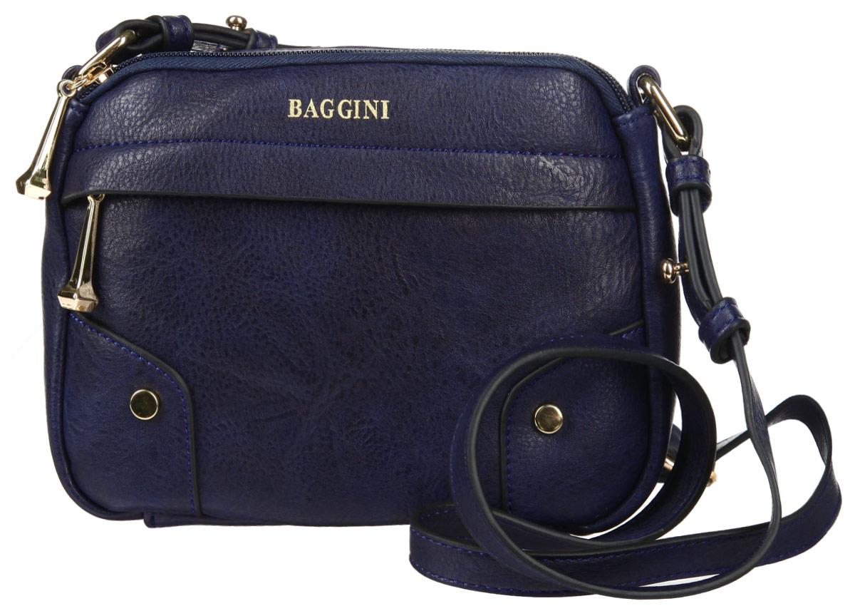 Сумка женская Baggini, цвет: синий. 29555/4329555/43Стильная сумка женская Baggini выполнена из искусственной кожи, оформлена металлической фурнитурой и символикой бренда. Изделие содержит два отделения, каждое из которых закрывается на молнию. Внутри расположен врезной карман на молнии. Снаружи, на лицевой стороне изделия, расположен врезной карман, застегивающийся на молнию. Сумка оснащена плечевым ремнем регулируемой длины. Оригинальный аксессуар позволит вам завершить образ и быть неотразимой.