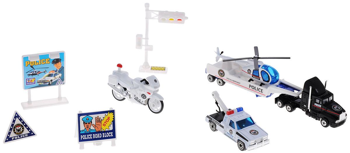 Welly Игровой набор Cлужба спасения Полиция 9 предметов98630-9AИгровой набор Welly Служба спасения: Полиция представляет собой 5 реалистичных моделей, выполненных в виде точных копий полицейской техники, а также 4 сопутствующих атрибута. Набор включает в себя вертолет, грузовик, эвакуатор, мотоцикл, прицеп, светофор и 3 дорожных знака. Модели отличаются высоким качеством исполнения и детализации. Корпус моделей выполнен из металла и пластика, стекла изготовлены из прочного прозрачного пластика. Колеса машинок и лопасти вертолета вращаются. Ваш ребенок часами будет играть с набором, придумывая различные истории. Порадуйте его таким замечательным подарком!