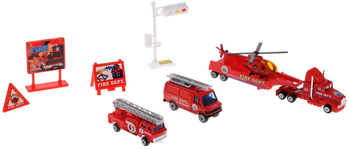Welly Игровой набор Служба спасения Пожарная команда 9 предметов98630-9CИгровой набор Welly Пожарная команда представляет собой 5 реалистичных моделей, выполненных в виде точных копий пожарной техники и 4 сопутствующих атрибута. Набор включает в себя вертолет, грузовик, автолестницу, фургон, прицеп, светофор и 3 дорожных знака. Модели отличаются высоким качеством исполнения и детализации. Корпус моделей выполнен из металла и пластика, стекла изготовлены из прочного прозрачного пластика. Колеса машинок и лопасти вертолета вращаются. Ваш ребенок часами будет играть с набором, придумывая различные истории. Порадуйте его таким замечательным подарком!