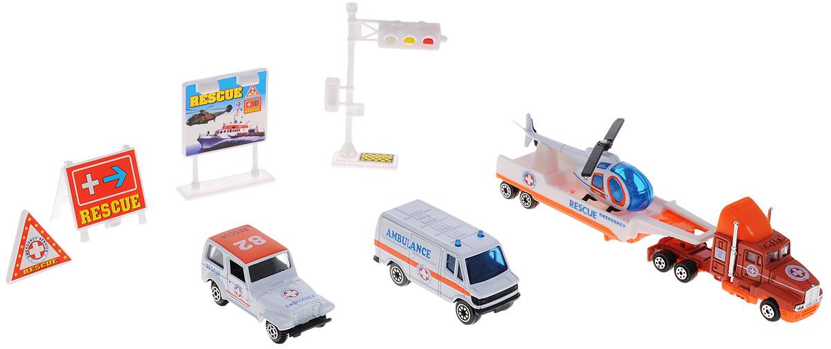 Welly Игровой набор Служба спасения Скорая помощь 9 предметов98630-9BИгровой набор Welly Служба спасения: Скорая помощь представляет собой 5 реалистичных моделей, выполненных в виде точных копий спасательной техники, а также 4 сопутствующих атрибута. Набор включает в себя вертолет, грузовик, джип, фургон, прицеп, светофор и 3 дорожных знака. Модели отличаются высоким качеством исполнения и детализации. Корпус моделей выполнен из металла и пластика, стекла изготовлены из прочного прозрачного пластика. Колеса машинок и лопасти вертолета вращаются. Ваш ребенок часами будет играть с набором, придумывая различные истории. Порадуйте его таким замечательным подарком!