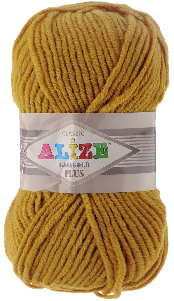 Пряжа для вязания Alize Lana Gold Plus, цвет: горчичный (645), 140 м, 100 г, 5 шт695158_645Пряжа Alize Lana Gold Plus - это полюбившаяся всем рукодельницам полушерстяная пряжа, которая прекрасно подойдет для вязания теплых вещей: уютных свитеров и мягких кофт, удобных и стильных платьев и сарафанов, ярких шарфов и шапочек. Сбалансированный состав пряжи Alize Lana Gold Plus позволяет получать мягкие, приятные к телу вещи, хранящие тепло натуральной шерсти и обладающие практичностью акриловой нити. Вязать из полушерстяной теплой пряжи легко и приятно - упругая, плотная нить красиво ложится в любой узор, не слоится и мягко скользит по спицам. Приятная цветовая гамма порадует любителей насыщенных, глубоких оттенков, которые так актуальны зимой. Нить ровная, очень пышная, не линяет и не выгорает, подходит для вязания трикотажных вещей детям и взрослым. Изделия из этой пряжи получаются мягкие, очень легкие, износостойкие. Рекомендуются спицы: 5-7 мм. Комплектация: 5 мотков. Состав: 51% акрил, 49% шерсть.