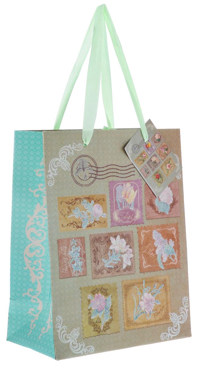 """Пакет подарочный Феникс-Презент """"Цветочные марки"""", 17,8 х 22,9 х 9,8 см"""