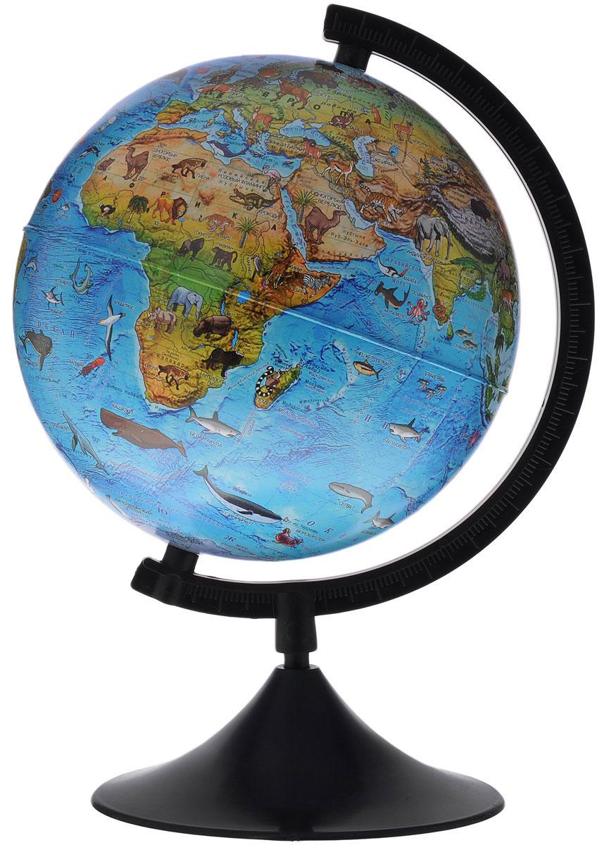Globen Глобус Земли зоогеографический детский диаметр 21 см цвет подставки черныйК012100204Зоогеографический глобус Земли Globen выполнен в высоком качестве, с четким и ярким изображением. Он дает представление о животных, обитающих в разных уголках планеты. На нем отображены названия материков, океанов и морей, крупных географических объектов, животные и некоторые виды растений, характерные для определенной местности. Глобус легко вращается вокруг своей оси, снабжен пластиковым меридианом с градусными отметками. Подставка изготовлена из пластика. Надписи на глобусе сделаны на русском языке. В комплект входит: глобус, подставка.