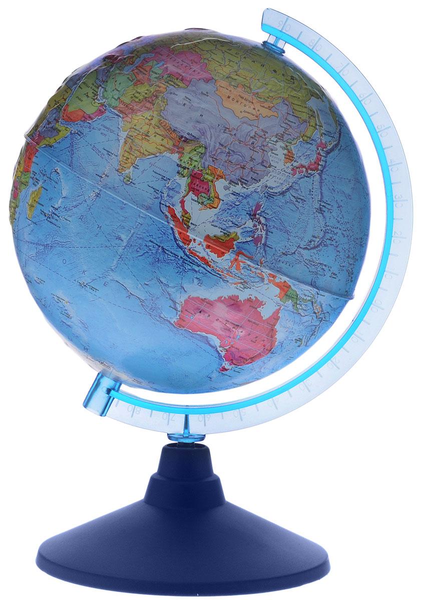 Globen Глобус Земли политический рельефный диаметр 21 смКе022100201_евроГлобус Земли Globen с политической картой мира выполнен в высоком качестве, с четким и ярким изображением. Он даст представление о политическом устройстве мира. На нем отображены линии картографической сетки, показаны границы государств и демаркационные линии, столицы и крупные населенные пункты, линия перемены дат. Рельеф на глобусе демонстрирует наличие гор и возвышенностей. Глобус легко вращается вокруг своей оси, снабжен пластиковым меридианом с градусными отметками. Подставка изготовлена из пластика. Надписи на глобусе сделаны на русском языке. В комплект входит: глобус, подставка.