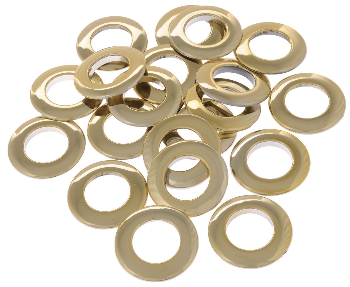 Набор люверсов Belladonna, цвет: золотой, диаметр 25 мм, 10 шт515510Набор Belladonna состоит из 10 люверсов, выполненных из пластика. Люверсы представляют собой кольца особой формы, которые служат для окантовки отверстий в разных материалах. Используются в качестве фурнитуры для кожгалантерейных, текстильных, обувных изделий, также подходят для бумаги и картона. Через люверсы продеваются шнурки, ленты, тесьма. Изделия Belladonna помогут воплотить вашу творческую задумку и добавят вдохновения для новых идей. Внутренний диаметр: 25 мм.
