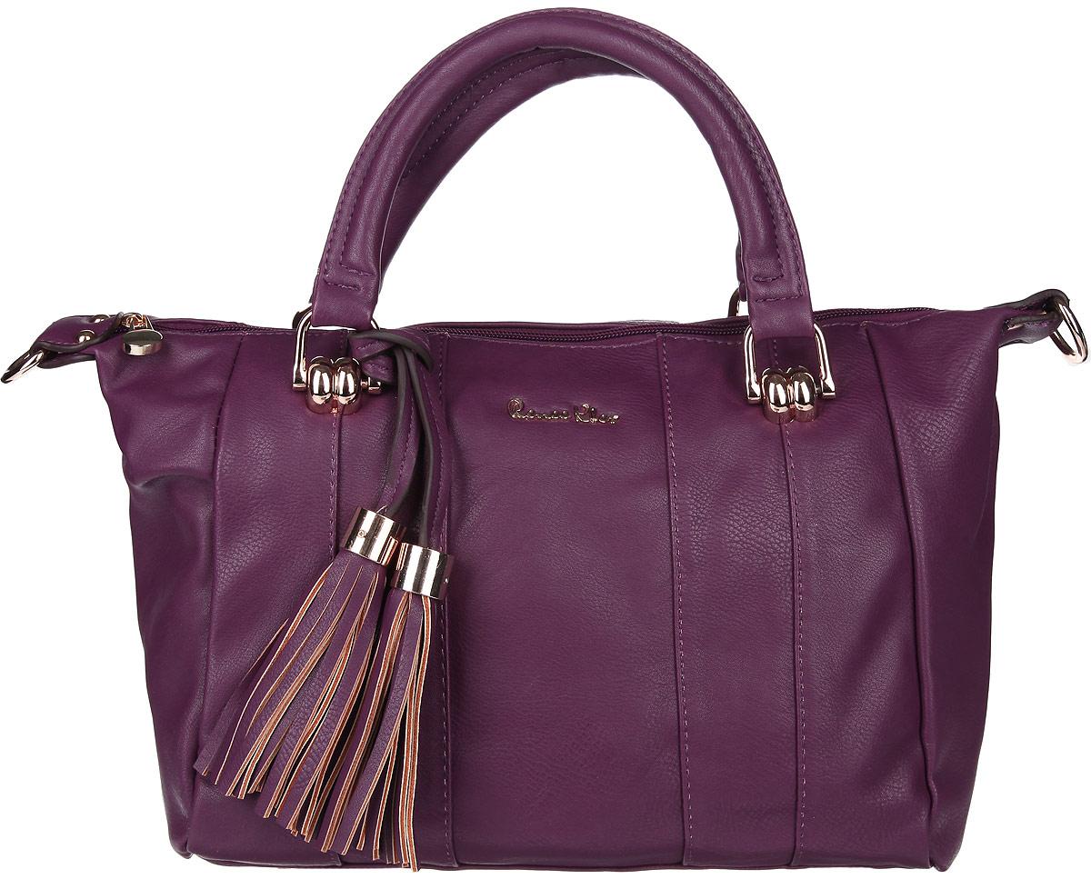 Сумка женская Renee Kler, цвет: фиолетовый. RK081W-15RK081W-15Стильная женская сумка Renee Kler выполнена из искусственной кожи, оформлена декоративной подвеской и металлической фурнитурой с символикой бренда. Изделие содержит одно отделение, которое закрывается на застежку-молнию. Внутри расположены два накладных кармашка для мелочей, карман-средник на молнии и врезной карман на молнии. Сумка оснащена удобными ручками с металлической фурнитурой, а также съемным плечевым ремнем. Дно изделия дополнено металлическими ножками. Оригинальный аксессуар позволит вам завершить образ и быть неотразимой.