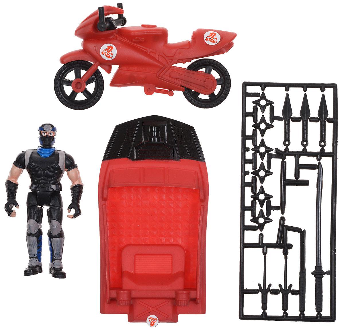 Manley Игровой набор Ninja Battle цвет красный черный63587_красный мотоцикл/черный нинзяИгровой набор Ninja Battle заинтересует каждого мальчишку! В набор входит фигурка ниндзя, лодка, мотоцикл, а также разнообразное оружие ниндзя. Элементы набора выполнены из прочного пластика. Руки, ноги и голова у фигурки подвижны. Ваш ребенок с удовольствием разнообразит свои игры фигурками Ninja Battle.