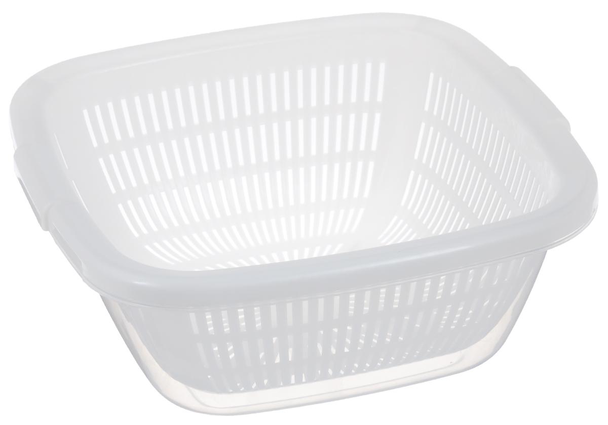 Дуршлаг Dunya Plastik, с поддоном, цвет: белый, 6 л10222_ прозрачныйКвадратный дуршлаг Dunya Plastik, изготовленный из пластика, станет полезным приобретением для вашей кухни. Он идеально подходит для процеживания, ополаскивания и стекания макарон, овощей, фруктов. Дуршлаг оснащен поддоном, устойчивым основанием и удобными ручками по бокам. Дуршлаг Dunya Plastik займет достойное место среди аксессуаров на вашей кухне. Размер дуршлага по верхнему краю (с учетом ручек): 30 х 29,5 см. Внутренний размер дуршлага: 25,7 х 25,7 см. Высота стенки дуршлага: 11,5 см. Размер поддона: 29 х 29 х 12 см. Объем дуршлага: 6 л.