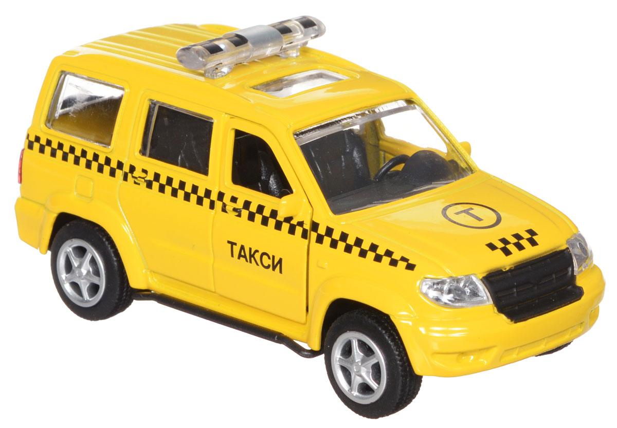 ТехноПарк Модель автомобиля УАЗ Патриот ТаксиX600-H09027-RМодель автомобиля ТехноПарк УАЗ Патриот: Такси, выполненная из металла, пластика и резины, станет любимой игрушкой вашего малыша. Игрушка представляет собой модель автомобиля такси УАЗ Патриот в масштабе 1:50. Передние дверцы модели открываются, а прорезиненные колеса обеспечивают надежное сцепление с любой поверхностью пола. Модель оснащена инерционным ходом: достаточно немного отвести ее назад, а затем отпустить - машинка быстро поедет вперед. Ваш ребенок будет часами играть с этой машинкой, придумывая различные истории. Порадуйте его таким замечательным подарком!