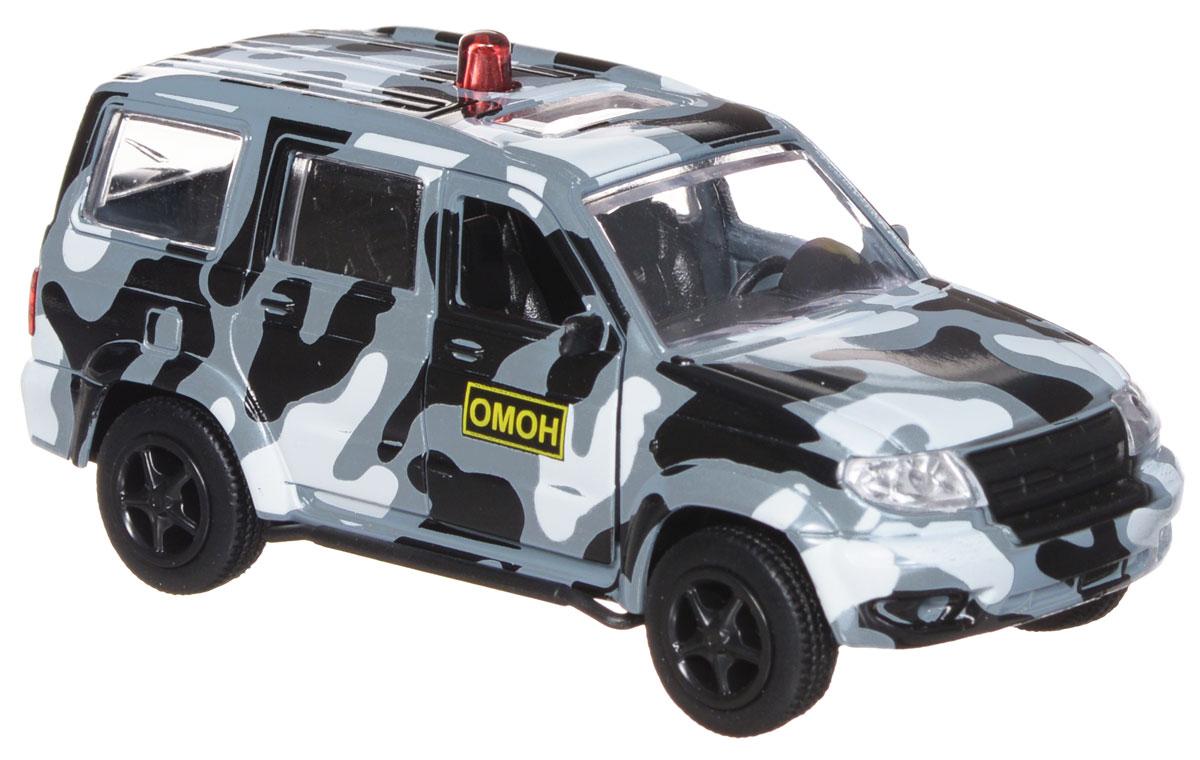 ТехноПарк Модель автомобиля УАЗ Патриот ОМОНX600-H09028-RМодель автомобиля ТехноПарк УАЗ Патриот: ОМОН, выполненная из металла, пластика и резины, станет любимой игрушкой вашего малыша. Игрушка представляет собой модель автомобиля ОМОНа УАЗ Патриот в масштабе 1:50. Передние дверцы модели открываются, а прорезиненные колеса обеспечивают надежное сцепление с любой поверхностью пола. Модель оснащена инерционным ходом: достаточно немного отвести ее назад, а затем отпустить - машинка быстро поедет вперед. Ваш ребенок будет часами играть с этой машинкой, придумывая различные истории. Порадуйте его таким замечательным подарком!