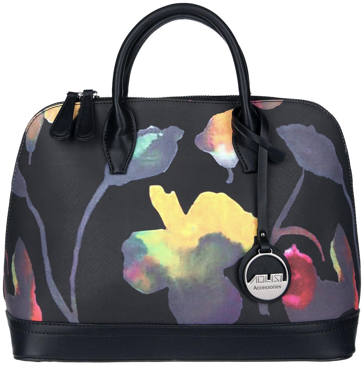 Сумка женская David Jones, цвет: черный. 3980-23980-2 BLACKСтильная женская сумка David Jones выполнена из искусственной кожи, оформлена подвеской с символикой бренда и ярким цветочным принтом. Изделие содержит одно основное отделение, которое закрывается на застежку-молнию. Внутри расположены четыре накладных кармашка для мелочей, один из которых закрывается на молнию, и врезной карман на молнии. Задняя сторона изделия дополнена врезным карманом на молнии. Сумка оснащена съемным плечевым ремнем регулируемой длины и практичными ручками. Дно сумки дополнено металлическими ножками. Оригинальный аксессуар позволит вам завершить образ и быть неотразимой.