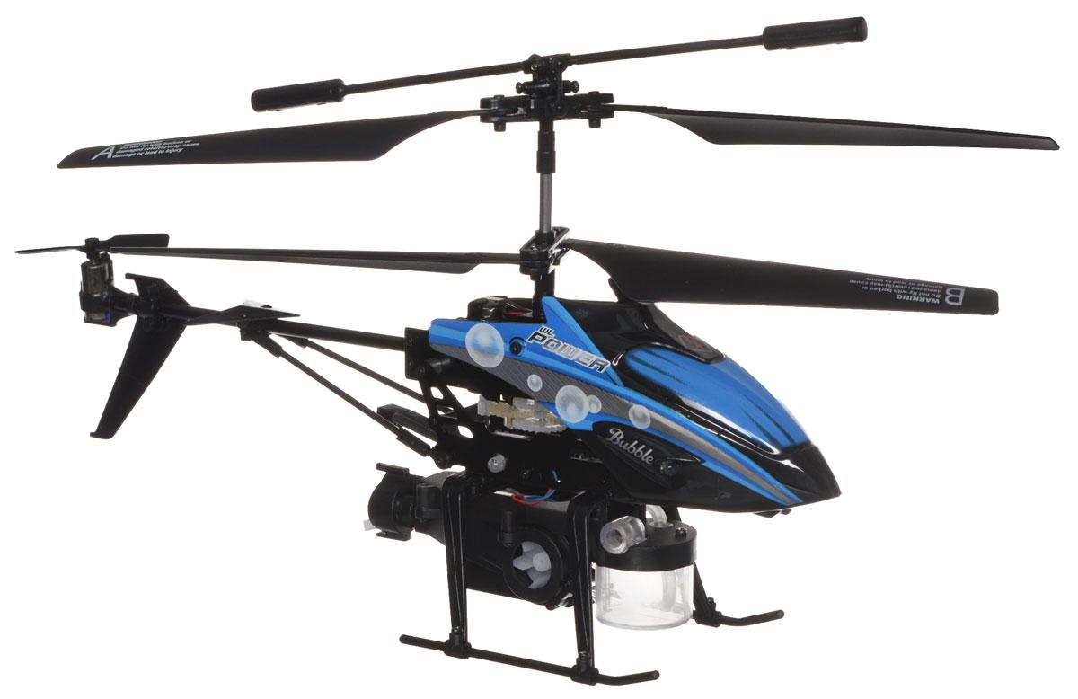 ABtoys Вертолет на инфракрасном управлении Bubble цвет черный синийC-00107(V757)_черный, синийВертолет на инфракрасном управлении ABtoys Bubble - не просто игрушка, а целый мир военной техники, призванной служить верой и правдой своему полководцу. К тому же, новый вертолет идеально подходит для игр, как дома, так и на улице. Вертолет оборудован устройством для запуска мыльных пузырей. Запуск пузырей осуществляется с помощью специальной кнопки на пульте. В комплекте идет флакон с мыльным раствором, а также специальная пипетка и воронка для заправки емкости вертолета. С пульта управления вертолётом можно включить или выключить курсовой прожектор. Встроенный гироскоп, обеспечивающий устойчивость вертолёта в полёте, функция зависания в воздухе, 3,5 канала управления, пропорциональный триммер для выравнивания полёта делают этот вертолет идеальным для игры как внутри помещения, так и на улице. Вертолет может двигаться во всех направлениях, разворачивается на 360 градусов и зависать в воздухе. Лёгкий и прочный пластиковый корпус гарантирует длительный срок...