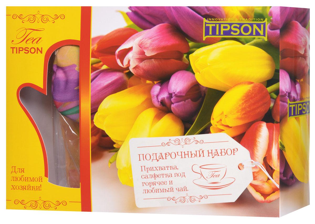 Tipson Подарочный набор Джульетта черный чай Ceylon №1 с прихваткой и салфеткой под горячее в подарок10048-00Что будет приятно получить в качестве подарка лицам прекрасного пола? Конечно же цветы и что-то милое и полезное. Все эти качества несет в себе праздничный чайный набор Tipson Джульетта с прихваткой и салфеткой под горячее. Яркая коробка из дизайнерского картона, украшенная весенним цветочным принтом, несомненно вызовет только положительные эмоции, а качественный черный чай Ceylon №1 в комплекте с плотной варежкой-прихваткой и салфеткой под горячее придадут набору дополнительную полезность. Размер прихватки: 170 мм х 280 мм Материал прихватки: полиэстер 100% Размер салфетки: 200 мм х 200 мм Материал салфетки: полиэстер 100%