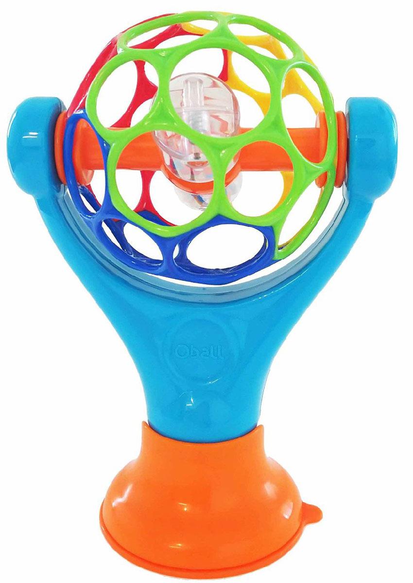 Oball Развивающая игрушка Grip & Play81529_оранжевый, синийРазвивающая игрушка Oball Grip & Play на присоске отлично подойдет малышу с первых дней жизни. Благодаря надежной присоске, игрушка закрепляется на различных поверхностях. Ребенок может крутить мячик, наклонять его, даже пробовать на вкус: игрушка изготовлена из качественных материалов и они абсолютно безопасны для здоровья малыша. Внутри шарика находится прозрачная погремушка с цветными шариками. Яркие цвета и необычная форма устройства развивают воображение ребенка, его мелкую моторику, скорость реакции и просто поднимают настроение непоседы.