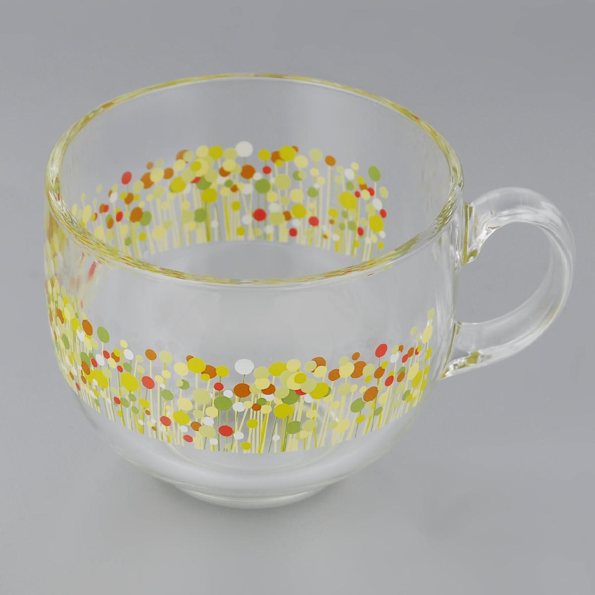 Кружка Luminarc Flowerfield. Джамбо, 500 млJ8768Кружка Luminarc Flowerfield. Джамбо изготовлена из ударопрочного стекла. Такая кружка прекрасно подойдет для горячих и холодных напитков. Она дополнит коллекцию вашей кухонной посуды и будет служить долгие годы. Диаметр кружки (по верхнему краю): 10,5 см.