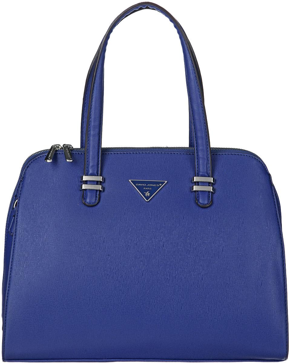 Сумка женская David Jones, цвет: синий. 5030-25030-2 BLUEСтильная женская сумка David Jones выполнена из искусственной кожи, оформлена фактурным тиснением и металлической фурнитурой с символикой бренда. Изделие содержит одно основное отделение, которое закрывается на застежку-молнию. Внутри расположены два накладных кармашка для мелочей, врезной карман на молнии. Задняя сторона изделия дополнена врезным карманом на молнии. Сумка оснащена съемным плечевым ремнем регулируемой длины и практичными ручками. Дно сумки дополнено металлическими ножками. Оригинальный аксессуар позволит вам завершить образ и быть неотразимой.