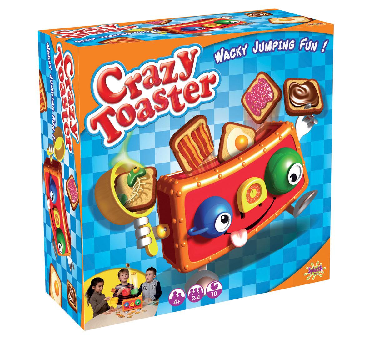 Splash Toys Настольная игра Веселый тостер30106RUSНастольная игра Веселый тостер состоит из игрушечного тостера и пластиковых тостов. Игра заключается в том, чтобы ловить выпрыгивающие из веселого тостера вкусные тосты. А сколько именно тостов выпрыгнет - не знает никто! Побеждает тот, кто поймает больше всех вкусных тостов. Берегись тостов с испорченной рыбой! Тостер, состоит из двух ложек-ножек, двух вилок-ручек и двух чашек-глаз. В наборе тосты с разными начинками и столовые приборы для ловли тостов. Игра развивает ловкость, сообразительность, умение играть в команде.