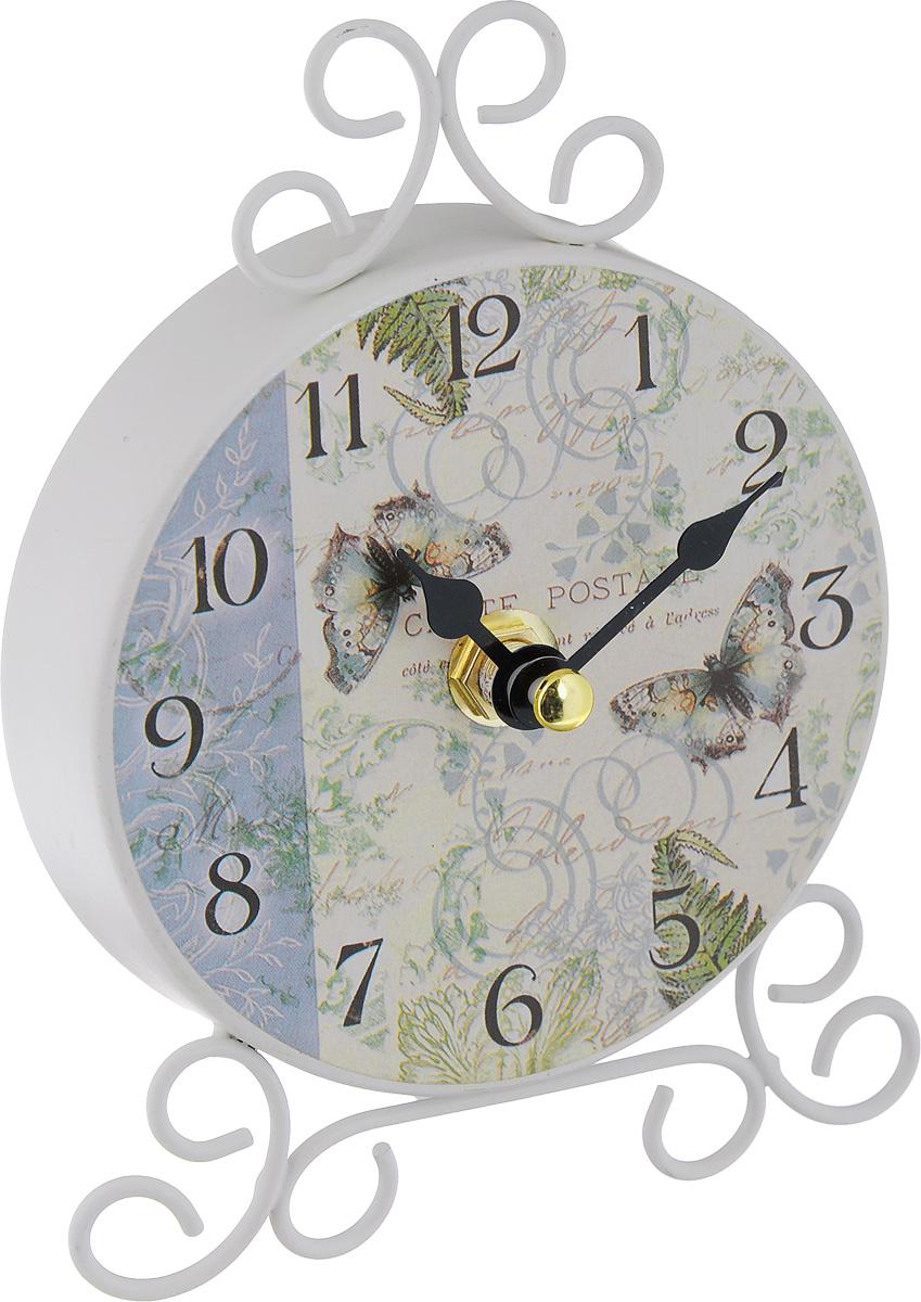 Часы настольные Феникс-Презент Папоротник40744Настольные часы Феникс-Презент Папоротник своим эксклюзивным дизайном подчеркнут оригинальность интерьера вашего дома. Часы выполнены из металла и оформлены изображением папоротника и бабочек. Часы имеют две стрелки - часовую и минутную. Настольные часы Феникс-Презент Папоротник подходят для кухни, гостиной, прихожей или дачи, а также могут стать отличным подарком для друзей и близких. ВНИМАНИЕ!!! Часы работают от сменной батареи типа АА 1,5V (в комплект не входит).