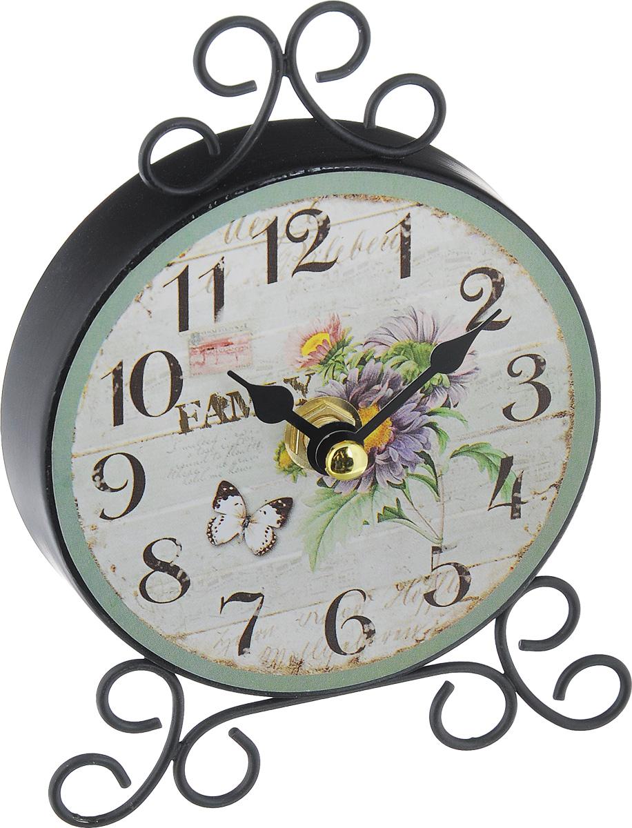 Часы настольные Феникс-Презент Хризантемы40742Настольные часы круглой формы Феникс-Презент Хризантемы своим эксклюзивным дизайном подчеркнут оригинальность интерьера вашего дома. Часы выполнены из металла и оформлены изображением цветов и бабочки. Имеют две стрелки - часовую и минутную. Настольные часы Феникс-Презент Хризантемы подходят для кухни, гостиной, прихожей или дачи, а также могут стать отличным подарком для друзей и близких. ВНИМАНИЕ!!! Часы работают от сменной батареи типа АА 1,5V (в комплект не входит).