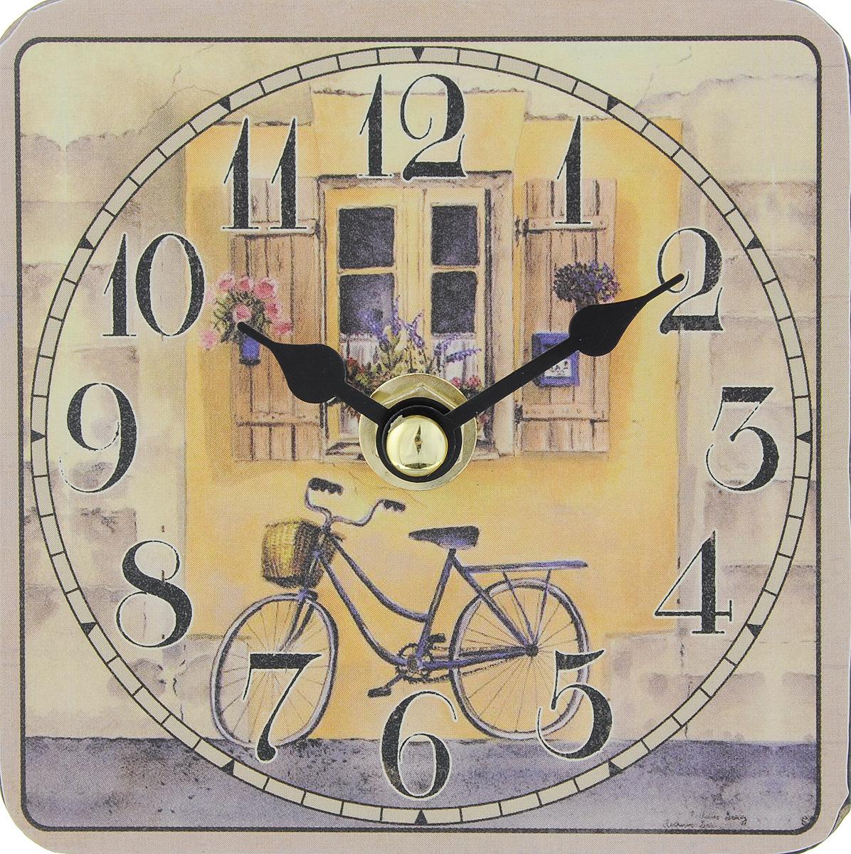Часы настольные Феникс-Презент Велосипед, 10 х 10 см40733Настольные часы квадратной формы Феникс-Презент Велосипед своим эксклюзивным дизайном подчеркнут оригинальность интерьера вашего дома. Циферблат оформлен цветным рисунком. Часы выполнены из МДФ. МДФ (мелкодисперсные фракции) представляет собой плиту из запрессованной вакуумным способом деревянной пыли и является наиболее экологически чистым материалом среди себе подобных. Часы имеют две стрелки - часовую и минутную. Настольные часы Феникс-Презент Велосипед подходят для кухни, гостиной, прихожей или дачи, а также могут стать отличным подарком для друзей и близких. ВНИМАНИЕ!!! Часы работают от сменной батареи типа АА 1,5V (в комплект не входит).
