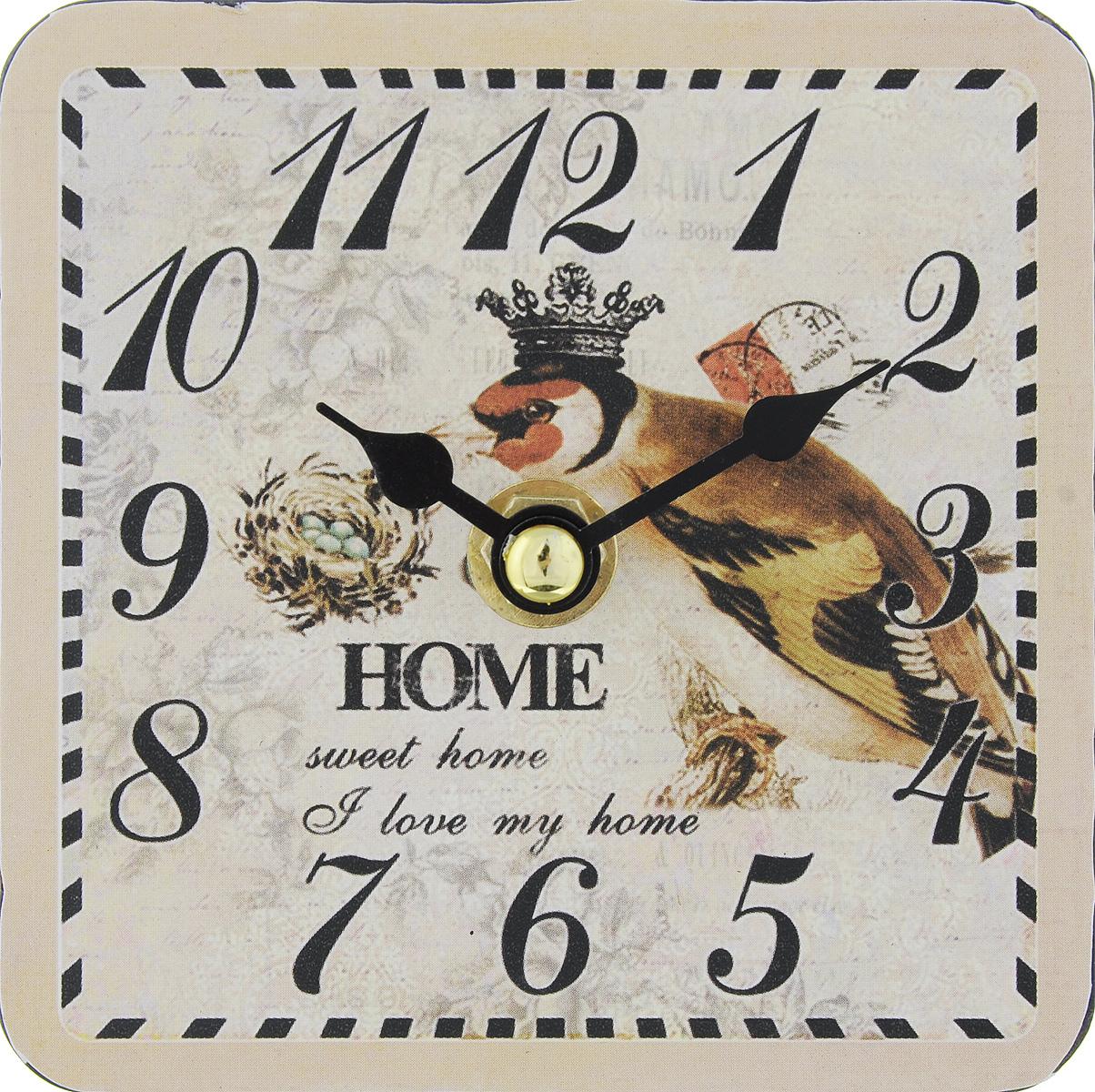 Часы настольные Феникс-Презент Король птиц, 10 х 10 см40732Настольные часы квадратной формы Феникс-Презент Король птиц своим эксклюзивным дизайном подчеркнут оригинальность интерьера вашего дома. Циферблат оформлен изображением птицы. Часы выполнены из МДФ. МДФ (мелкодисперсные фракции) представляет собой плиту из запрессованной вакуумным способом деревянной пыли и является наиболее экологически чистым материалом среди себе подобных. Часы имеют две стрелки - часовую и минутную. Настольные часы Феникс-Презент Король птиц подходят для кухни, гостиной, прихожей или дачи, а также могут стать отличным подарком для друзей и близких. ВНИМАНИЕ!!! Часы работают от сменной батареи типа АА 1,5V (в комплект не входит).