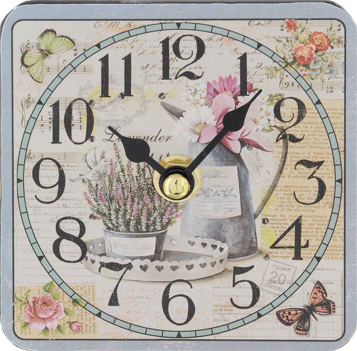 Часы настольные Феникс-Презент Лаванда и кувшин, 10 х 1040729Настольные часы квадратной формы Феникс-Презент Лаванда и кувшин своим эксклюзивным дизайном подчеркнут оригинальность интерьера вашего дома. Циферблат оформлен цветным рисунком. Часы выполнены из МДФ. МДФ (мелкодисперсные фракции) представляет собой плиту из запрессованной вакуумным способом деревянной пыли и является наиболее экологически чистым материалом среди себе подобных. Часы имеют две стрелки - часовую и минутную. Настольные часы Феникс-Презент Лаванда и кувшин подходят для кухни, гостиной, прихожей или дачи, а также могут стать отличным подарком для друзей и близких. ВНИМАНИЕ!!! Часы работают от сменной батареи типа АА 1,5V (в комплект не входит).
