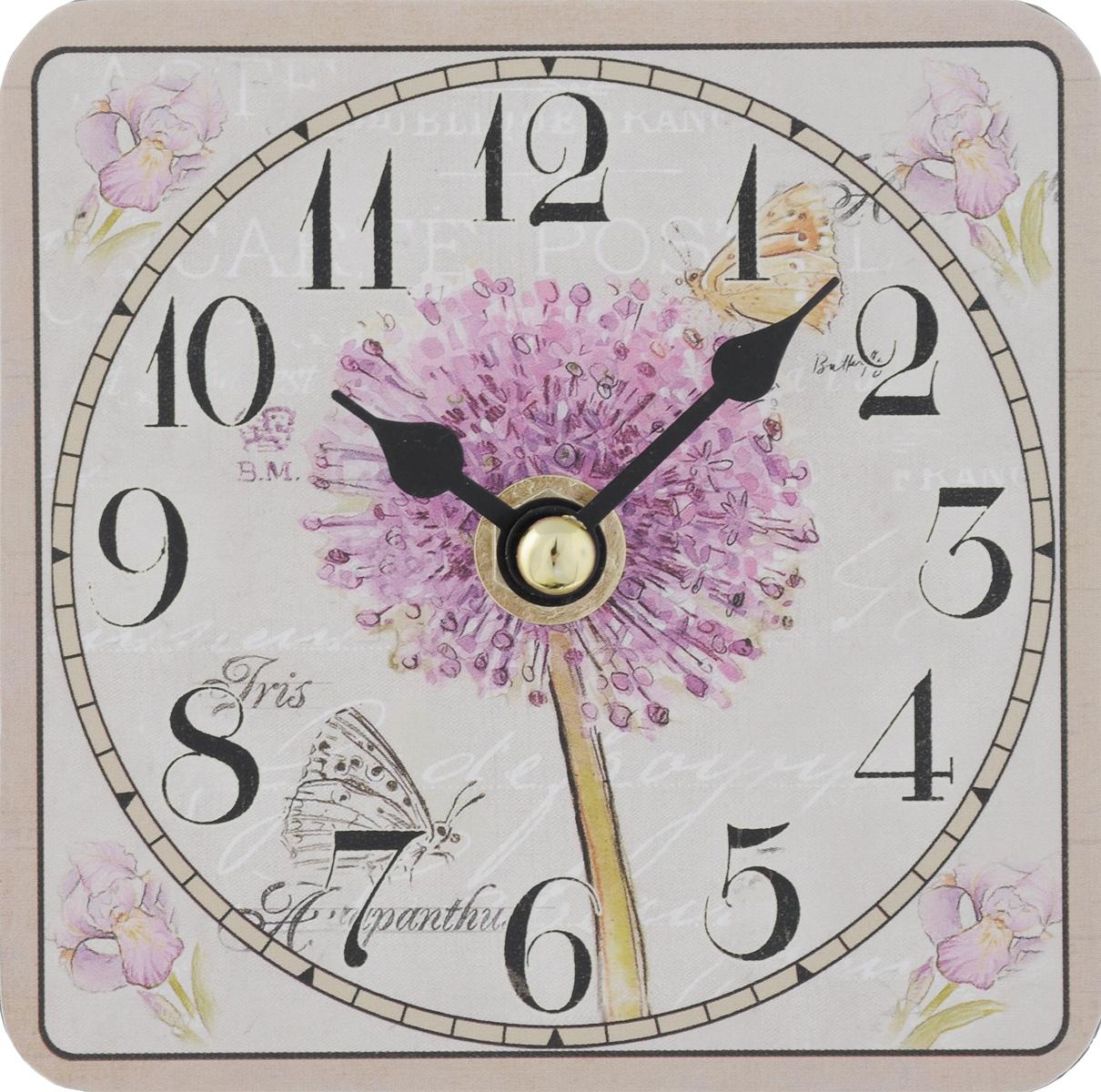 Часы настольные Феникс-Презент Цветение, 10 х 10 см40731Настольные часы квадратной формы Феникс-Презент Цветение своим эксклюзивным дизайном подчеркнут оригинальность интерьера вашего дома. Циферблат оформлен изображением цветов. Часы выполнены из МДФ. МДФ (мелкодисперсные фракции) представляет собой плиту из запрессованной вакуумным способом деревянной пыли и является наиболее экологически чистым материалом среди себе подобных. Часы имеют две стрелки - часовую и минутную. Настольные часы Феникс-Презент Цветение подходят для кухни, гостиной, прихожей или дачи, а также могут стать отличным подарком для друзей и близких. ВНИМАНИЕ!!! Часы работают от сменной батареи типа АА 1,5V (в комплект не входит).