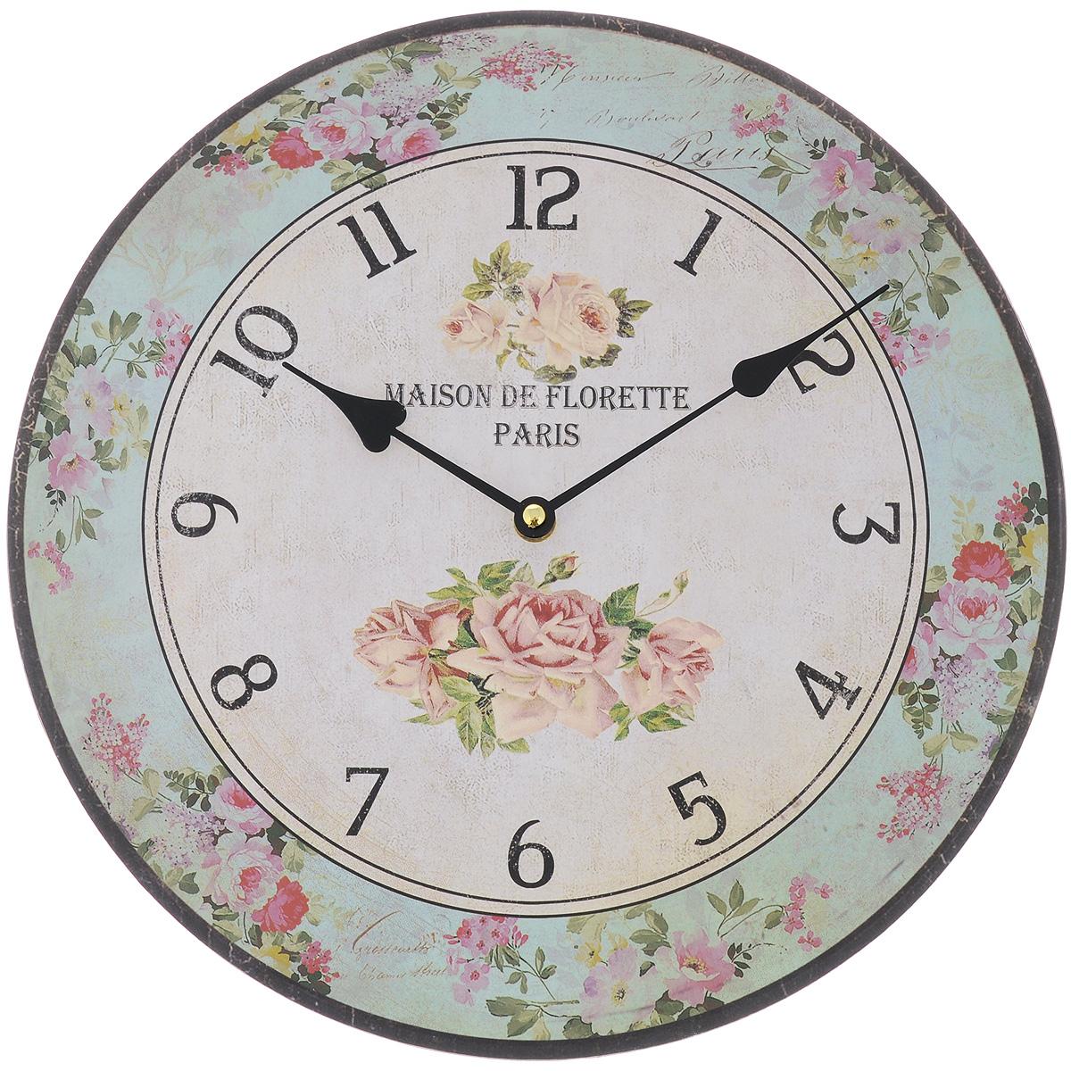 Часы настенные Феникс-Презент Цветочное настроение, диаметр 34 см