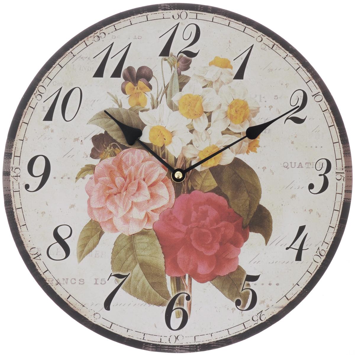 Часы настенные Феникс-Презент Весенний букет, диаметр 34 см40706Настенные часы круглой формы Феникс-Презент Весенний букет своим эксклюзивным дизайном подчеркнут оригинальность интерьера вашего дома. Циферблат оформлен изображением цветов. Часы выполнены из МДФ. МДФ (мелкодисперсные фракции) представляет собой плиту из запрессованной вакуумным способом деревянной пыли и является наиболее экологически чистым материалом среди себе подобных. Часы имеют две стрелки - часовую и минутную. Настенные часы Феникс-Презент Весенний букет подходят для кухни, гостиной, прихожей или дачи, а также могут стать отличным подарком для друзей и близких. Внимание! Часы работают от сменной батареи типа АА 1,5V (в комплект не входит).