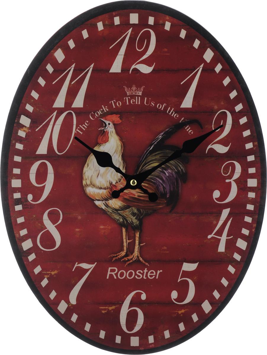 Часы настенные Феникс-Презент Петух, 40 х 32 х 4,5 см40718Настенные часы Феникс-Презент Петух своим эксклюзивным дизайном подчеркнут оригинальность интерьера вашего дома. Циферблат оформлен изображением петуха. Часы выполнены из МДФ. МДФ (мелкодисперсные фракции) представляет собой плиту из запрессованной вакуумным способом деревянной пыли и является наиболее экологически чистым материалом среди себе подобных. Часы имеют две стрелки - часовую и минутную. Настенные часы Феникс-Презент Петух подходят для кухни, гостиной, прихожей или дачи, а также могут стать отличным подарком для друзей и близких. ВНИМАНИЕ!!! Часы работают от сменной батареи типа АА 1,5V (в комплект не входит).