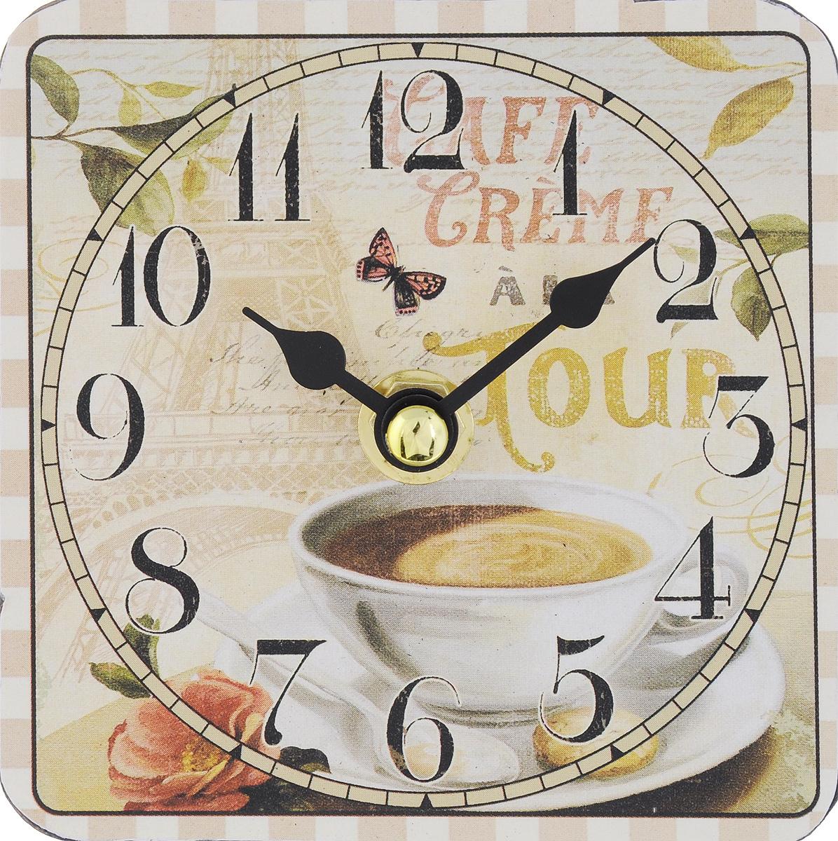 Часы настольные Феникс-Презент Чашка кофе, 10 х 10 см40728Настольные часы квадратной формы Феникс-Презент Чашка кофе своим эксклюзивным дизайном подчеркнут оригинальность интерьера вашего дома. Циферблат оформлен изображением чашки с кофе. Часы выполнены из МДФ. МДФ (мелкодисперсные фракции) представляет собой плиту из запрессованной вакуумным способом деревянной пыли и является наиболее экологически чистым материалом среди себе подобных. Часы имеют две стрелки - часовую и минутную. Настольные часы Феникс-Презент Чашка кофе подходят для кухни, гостиной, прихожей или дачи, а также могут стать отличным подарком для друзей и близких. ВНИМАНИЕ!!! Часы работают от сменной батареи типа АА 1,5V (в комплект не входит).