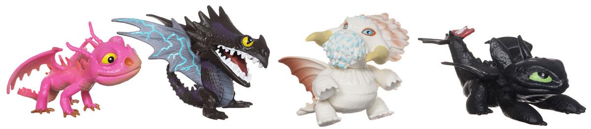 Набор мини-фигурок Dragons Коллекция маленьких драконов, 4 шт66596Набор мини-фигурок Dragons Коллекция маленьких драконов не оставит равнодушным вашего ребенка и не позволит ему скучать. Набор состоит из четырех мини-фигурок забавных драконов - персонажей мультфильма Как приручить дракона - Беззубика, Жуткой жути, Левиафана и Скрилла. С такими фигурками ваш ребенок окунется в гущи событий мультфильма, будет проигрывать любимые сцены или придумывать свои истории!